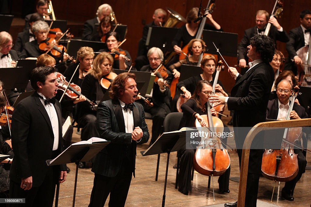 The Opera Orchestra of New York performing Umberto Giordano's 'Andrea Chenier' on Sunday afternoon, January 6, 2013.This image:From left, David Pershall, <a gi-track='captionPersonalityLinkClicked' href=/galleries/search?phrase=Roberto+Alagna&family=editorial&specificpeople=679931 ng-click='$event.stopPropagation()'>Roberto Alagna</a> and the conductor Alberto Veronesi.