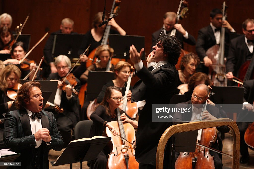 The Opera Orchestra of New York performing Umberto Giordano's 'Andrea Chenier' on Sunday afternoon, January 6, 2013.This image:The tenor <a gi-track='captionPersonalityLinkClicked' href=/galleries/search?phrase=Roberto+Alagna&family=editorial&specificpeople=679931 ng-click='$event.stopPropagation()'>Roberto Alagna</a> and the conductor Alberto Veronesi.