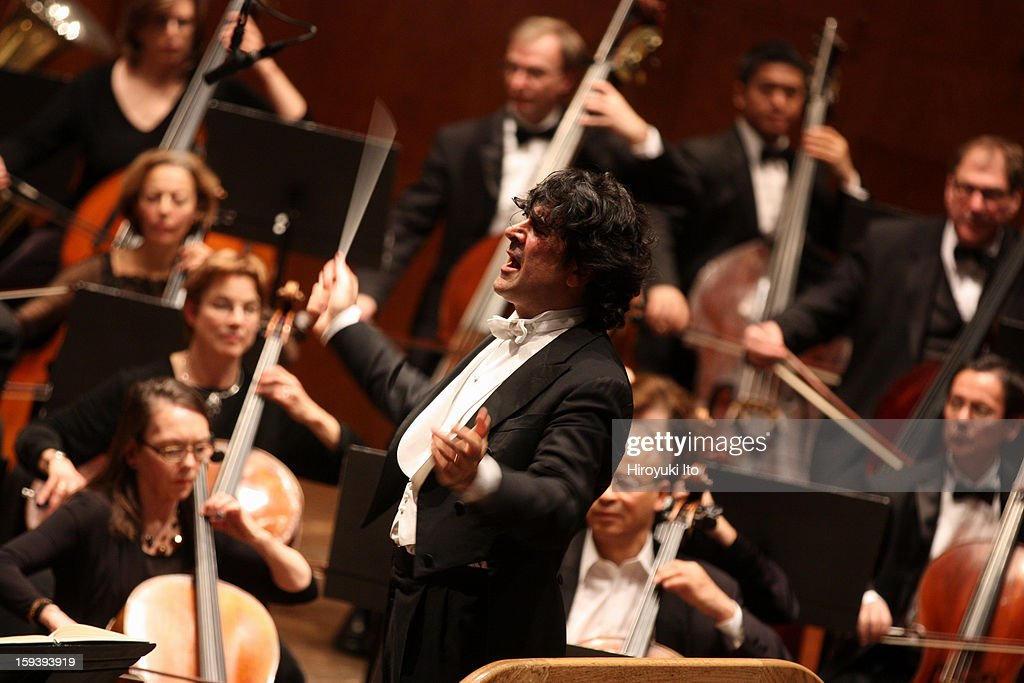 The Opera Orchestra of New York performing Umberto Giordano's 'Andrea Chenier' on Sunday afternoon, January 6, 2013.This image:The conductor Alberto Veronesi.