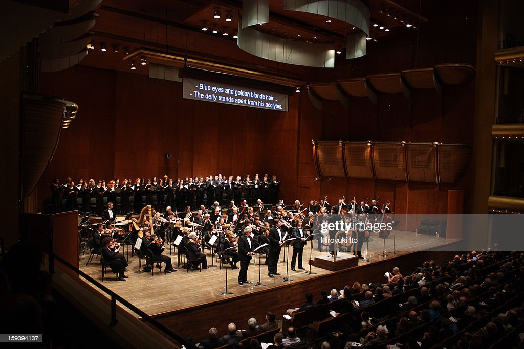 The Opera Orchestra of New York performing Umberto Giordano's 'Andrea Chenier' on Sunday afternoon, January 6, 2013.This image:Alberto Veronesi leading the Opera Orchestra of New York and New York Choral Ensemble.
