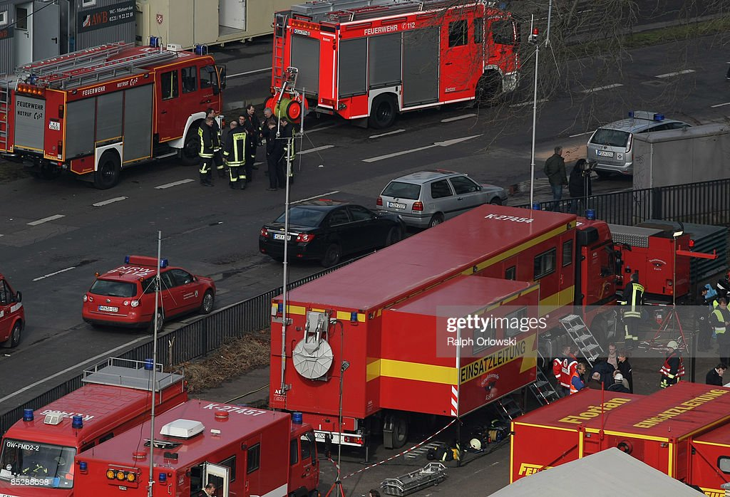 The operational command of Cologne fireworkers is installed near the collapsed Historical Archive of the City of Cologne on March 7, 2009 in Cologne, Germany. Cologne's six-story city archive building groaned then collapsed in a pile of rubble as people inside fled in panic. The archive building collapsed about 2 p.m., ripping open and dragging down parts of two adjacent buildings that contained apartments and an amusement arcade. Cologne holds archive material going back over centuries, including manuscripts by communist pioneers Karl Marx and Friedrich Engels and documents related to German writer Heinrich Boell.