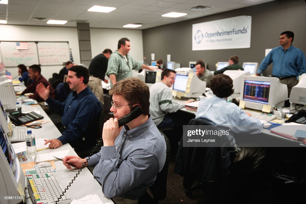 The Oppenheimer Fund employees work in the temporary office set up after the World Trade Center attack