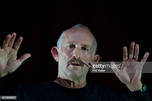 The Opportunities Party founder Gareth Morgan talks to the public during a Q A at Mt Albert War Memorial Hall on July 26 2017 in Auckland New Zealand...