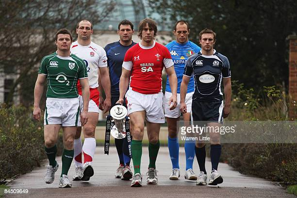 The opposing captains Brian O'Driscoll Steve Borthwick Lionel Nallet Ryan Jones Sergio Parisse and Mike Blair are pictured during the launch of the...