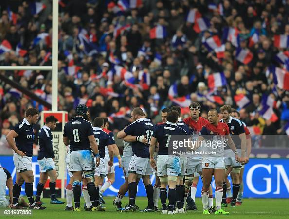 The opposing team's shake hands following France's 2216 victory during the RBS Six Nations match between France and Scotland at Stade de France on...