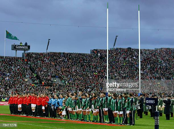 The opposing teamsline up for the national anthems prior to kickoff during the RBS Six Nations Championship match between Ireland and England at...