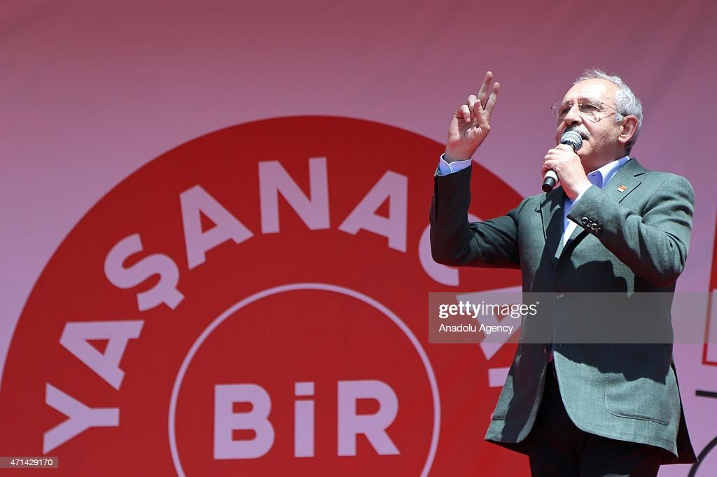 The opposition Republican People's Party (CHP) leader, <a gi-track='captionPersonalityLinkClicked' href=/galleries/search?phrase=Kemal+Kilicdaroglu&family=editorial&specificpeople=7129513 ng-click='$event.stopPropagation()'>Kemal Kilicdaroglu</a> addresses the supporters during a rally in Nigde, Turkey on April 28, 2015.