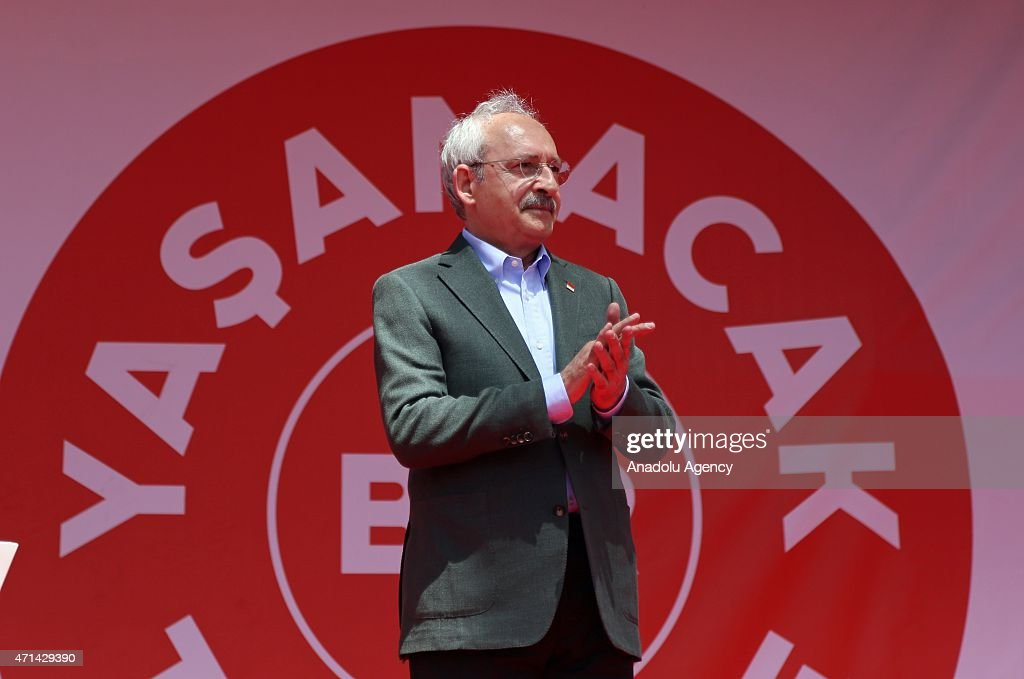 The opposition Republican People's Party (CHP) leader, <a gi-track='captionPersonalityLinkClicked' href=/galleries/search?phrase=Kemal+Kilicdaroglu&family=editorial&specificpeople=7129513 ng-click='$event.stopPropagation()'>Kemal Kilicdaroglu</a> greets the supporters during a rally in Nigde, Turkey on April 28, 2015.