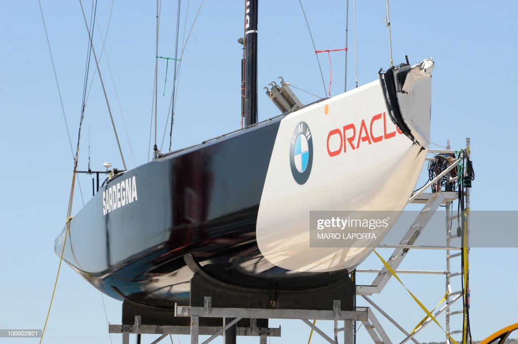 The Oracle boat crewed by the French Aleph team sits in dry dock after a collision with a boat helmed by Italian team Azzura at the start of a Louis Vuitton Cup regatta on May 25, 2010 at La Maddalena island in Sardinia. Ten teams are battling it out over a two-week regatta until June 6.