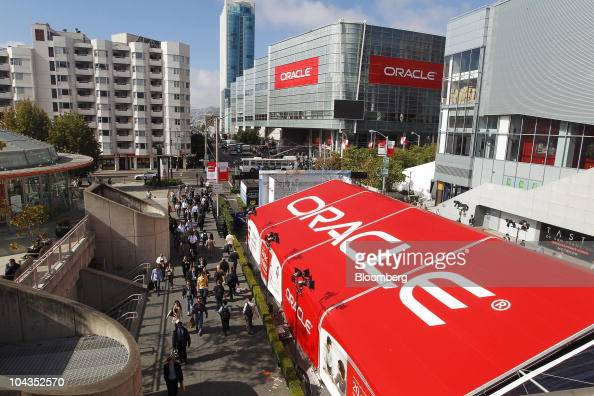The Oracle Corp logo is displayed on a tent outside the Moscone Center during the Oracle OpenWorld conference in San Francisco California US on...