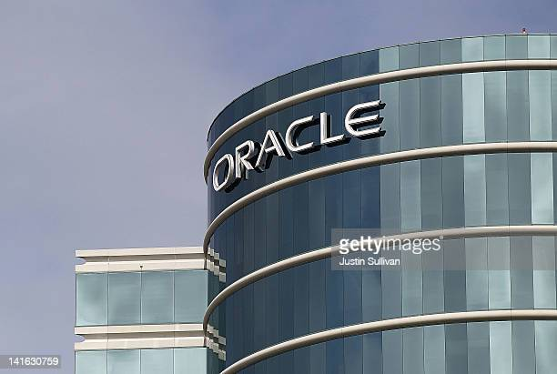 The Oracle logo is displayed at Oracle headquarters on March 20 2012 in Redwood Shores California Oracle will report third quarter earnings today...