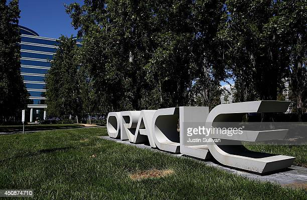 The Oracle logo is displayed in front of the Oracle headquarters on June 19 2014 in Redwood Shores California Oracle will report fourth quarter...