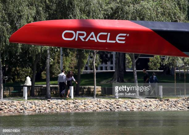The Oracle logo is displayed on an Oracle Team USA racing catamaran outside of Oracle headquarters on June 22 2017 in Redwood Shores California...