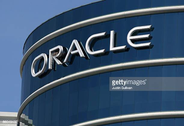 The Oracle logo is displayed on the company's world headquarters April 20 2009 in Redwood Shores California Sun Microsystems was acquired by Oracle...