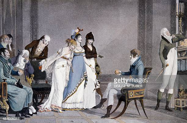The Orange by LouisPhilibert Debucourt aquatint scene with Etruscan inspired Directoire style furniture France 19th century