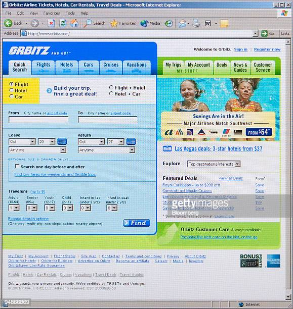 The Orbitz homepage is pictured on a computer in New York on September 29 2004 Cendant Corp the world's largest hotel franchiser agreed to buy...