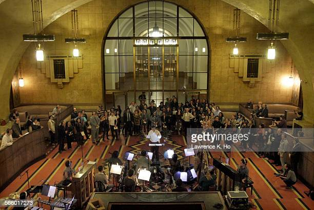 The orchestra in the dress rehearsal of the opera 'Invisible Cities' in Union Station in Los Angeles on Oct 17 2013 'Invisible Cities' The Industry's...