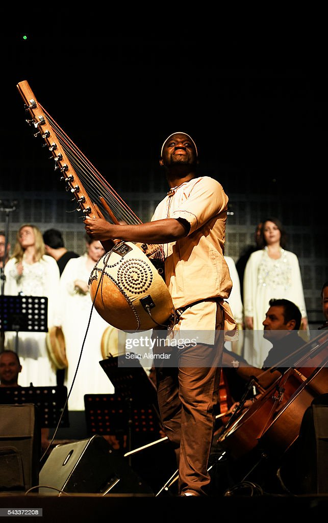 The Orchestra of Syrian Musicians performs at the 23th Istanbul Jazz Festival at Cemil Topuzlu Open Air Theatre on June 27, 2016 in Istanbul, Turkey.
