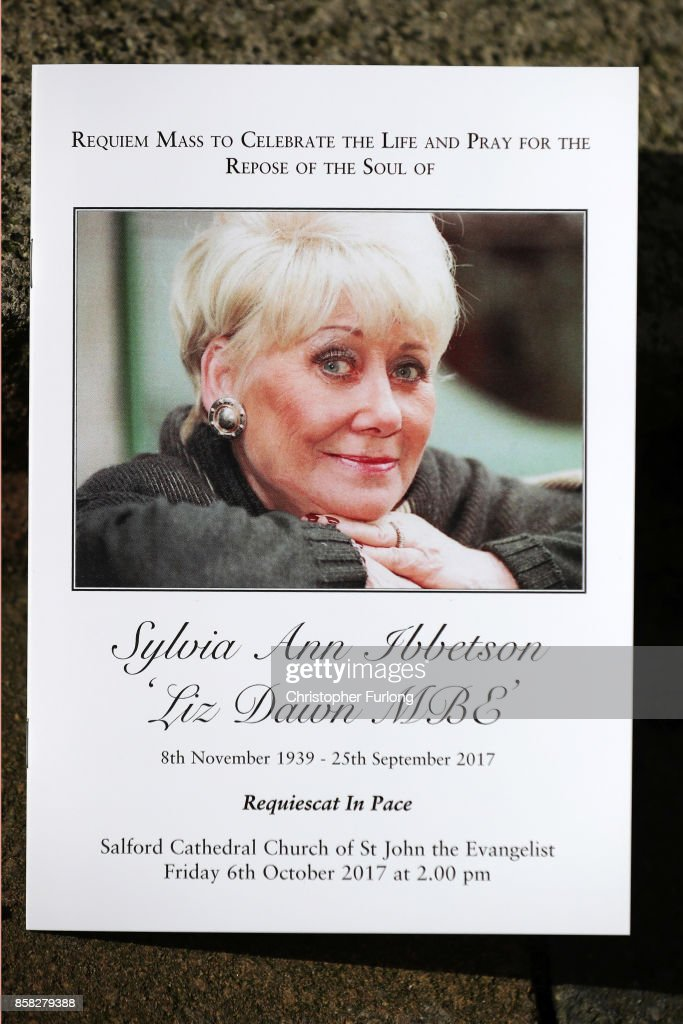 The order of service is seen at Salford Cathedral on October 6, 2017 in Salford, England. Actress Liz Dawn who died aged 77, played Vera Duckworth in Coronation Street for 34 years. She was diagnosed with lung disease emphysema and was written out of the show in 2008 at her own request.