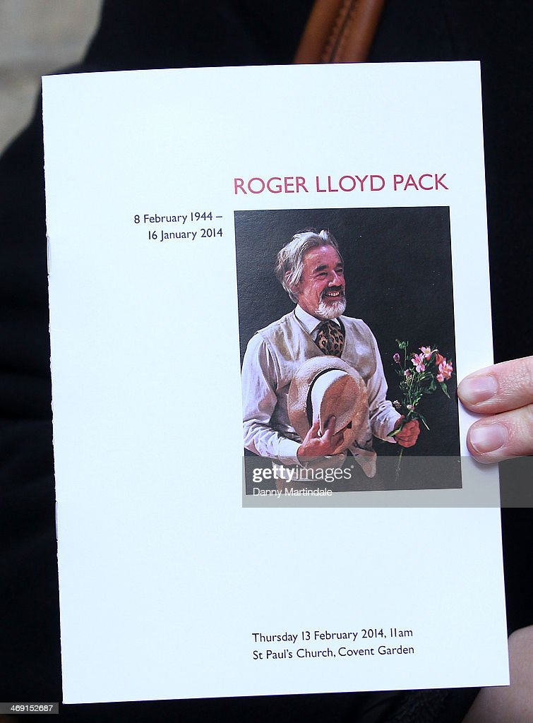 The Order of service of the funeral of actor Roger Lloyd-Pack at St Paul's Church on February 13, 2014 in London, England.