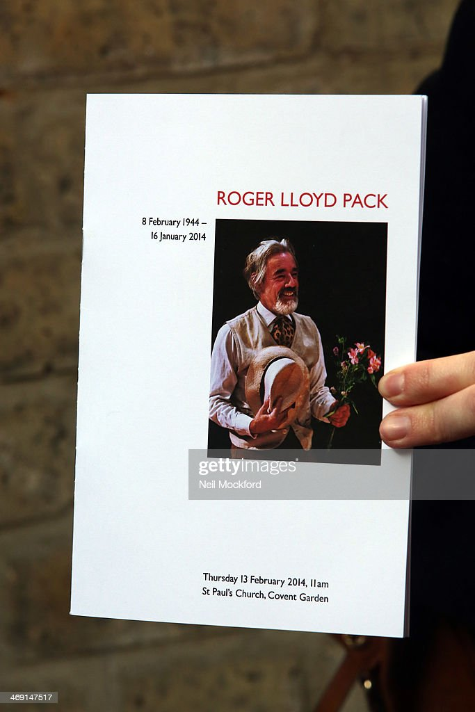 The Order of Service of the funeral of Roger Lloyd-Pack at St Paul's Church in Covent Garden on February 13, 2014 in London, England.