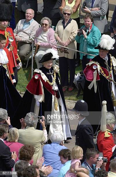The Order Of The Garter An Annual Ceremony When The Knights Of The Garter Gather For A Service Held At St George's Chapel Windsor Castle Berkshire...