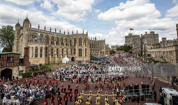 The order of the knights of the garter including members of the Royal family the annual Order of the Garter Service at St George's Chapel in Windsor...