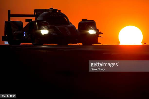 The Oreca 05 Nissaqn of Romain Rusinov of Russia Rene Rast of Germany and Alex Brundle of Great Britain drives on the track at sunset during the...