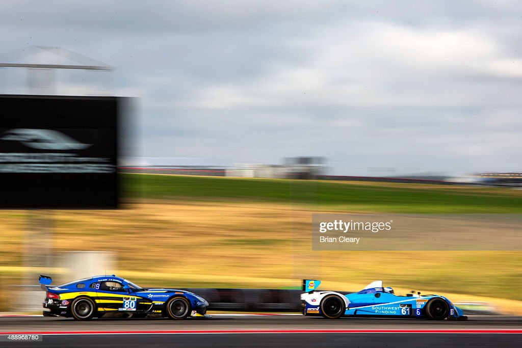 The ORECA FLM09 of Don Yount and Ryan Lewis leads the Dodge Viper of Dan Knox and Marc Goosens practice for the IMSA Tudor Series race at Circuit of...