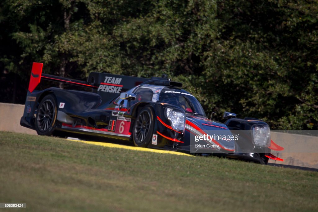 The #6 ORECA LMP2 of Juan Pablo Mntoya, of Colombia, Helio Castroneves, of Brazil, and Simon Pagenaud, of France, races on the track during practice at Road Atlanta on October 5, 2017 in Braselton, Georgia.