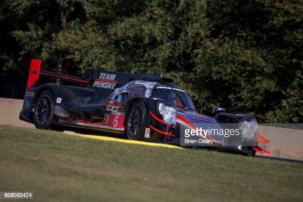The ORECA LMP2 of Juan Pablo Mntoya of Colombia Helio Castroneves of Brazil and Simon Pagenaud of France races on the track during practice at Road...
