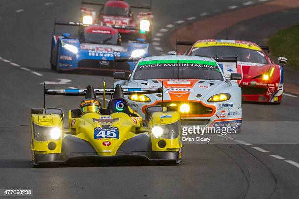 The ORECA O3R Nissan of Jose Ibanez Pierre Perret and Ivan Bellarosa leads a pack of cars during the 24 Hour of Lemans on June 13 2015 in Le Mans...
