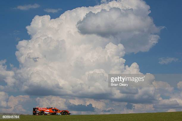The ORECA05 Nissan of Roman Rusinov of Russia Rene Rast Germany and Alex Brundle of Great Britain races on the track during practice for the Lone...