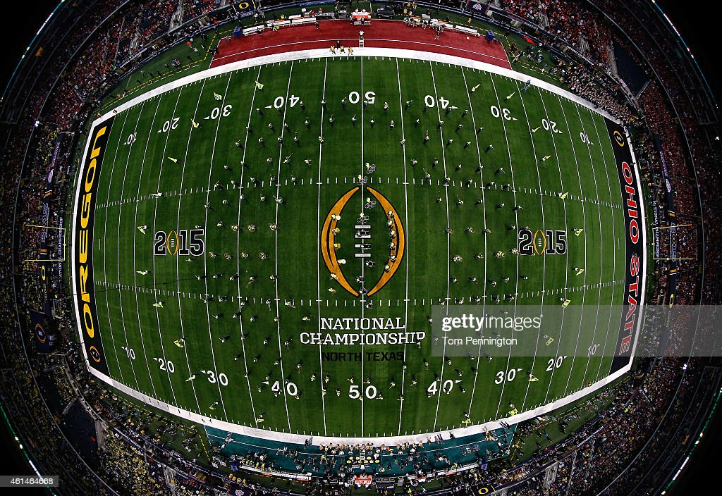 The Oregon Ducks marching band performs prior to the College Football Playoff National Championship Game against the Ohio State Buckeyes at ATT...