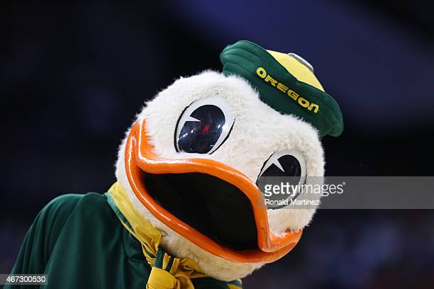 The Oregon Ducks mascot looks on as the Oregon Ducks play the Wisconsin Badgers during the third round of the 2015 NCAA Men's Basketball Tournament...