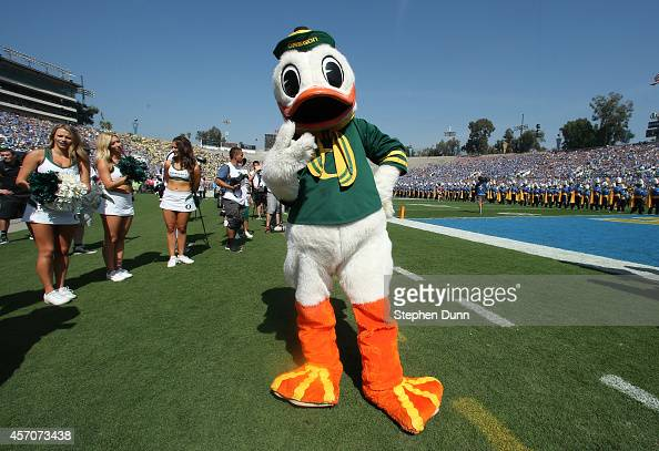 The Oregon Ducks mascot performs before the game with the UCLA Bruins at the Rose Bowl on October 11 2014 in Pasadena California Oregon won 4230