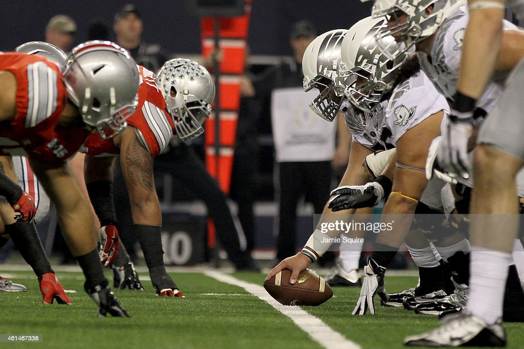 The Oregon Ducks snap the ball against the Ohio State Buckeyes during the College Football Playoff National Championship Game at ATT Stadium on...