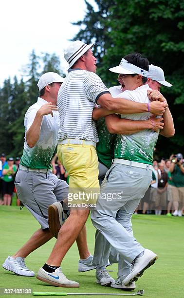 The Oregon golf team celebrates winning the 2016 NCAA Division I Men's Golf Championship at Eugene Country Club on June 1 2016 in Eugene Oregon