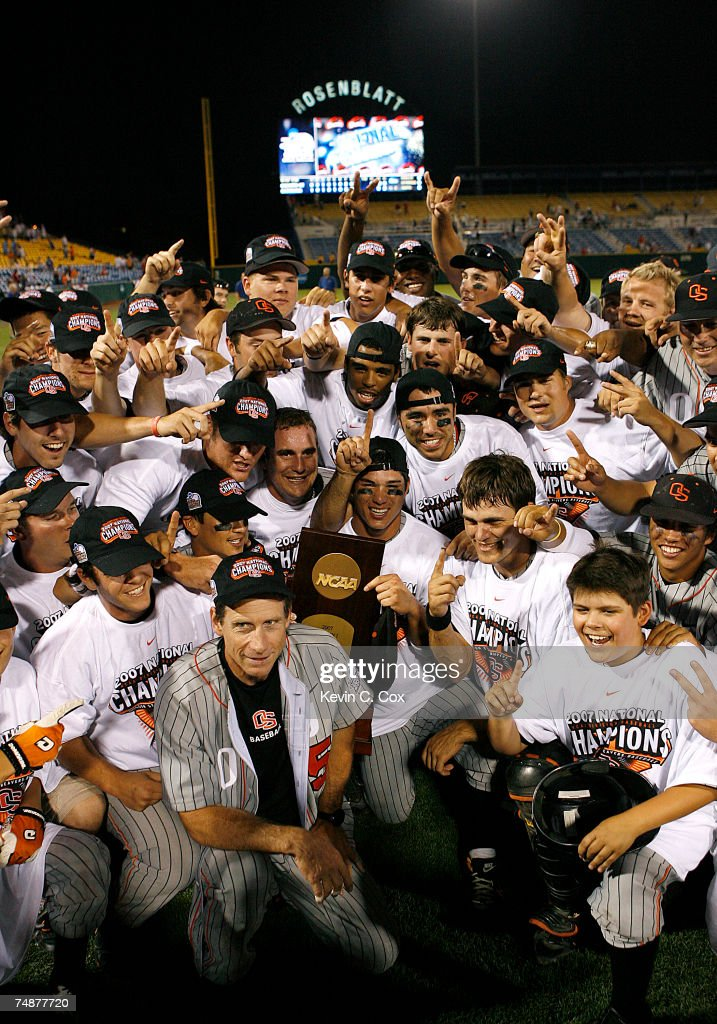 The Oregon State Beavers celebrate after defeating the North Carolina Tar Heels 93 in Game 2 to claim their second straight NCAA College World Series...