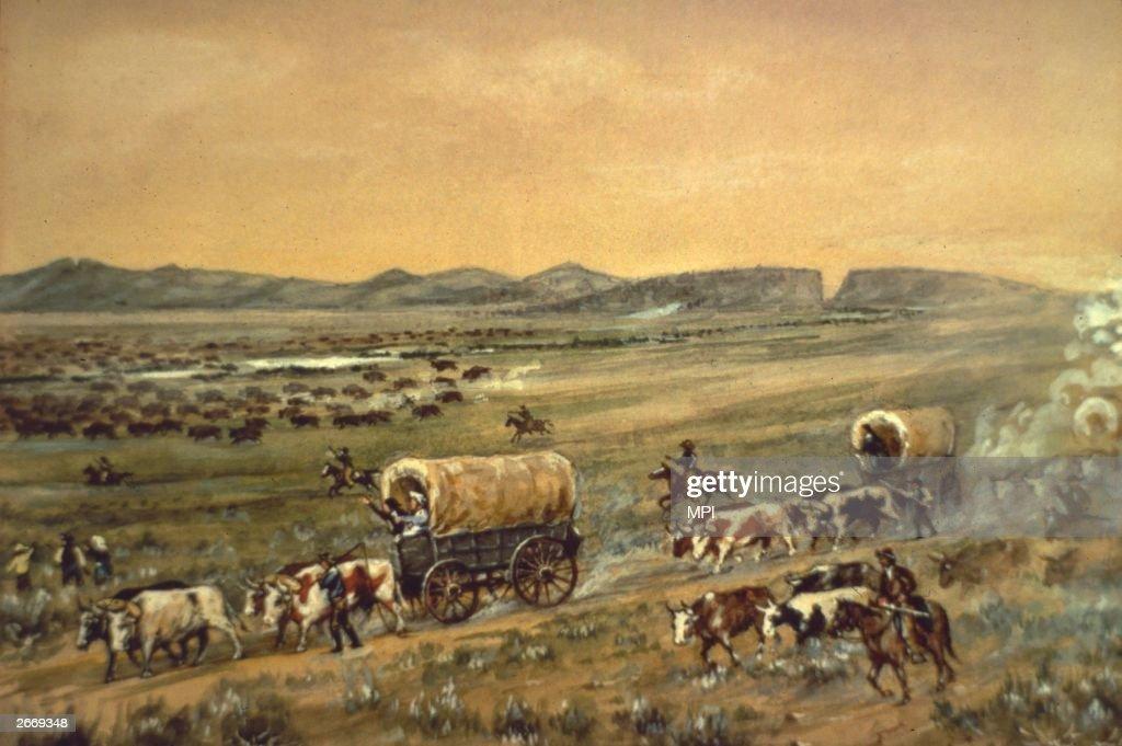 'The Oregon Trail Beyond Devil's Gate' Wyoming by W H Jackson