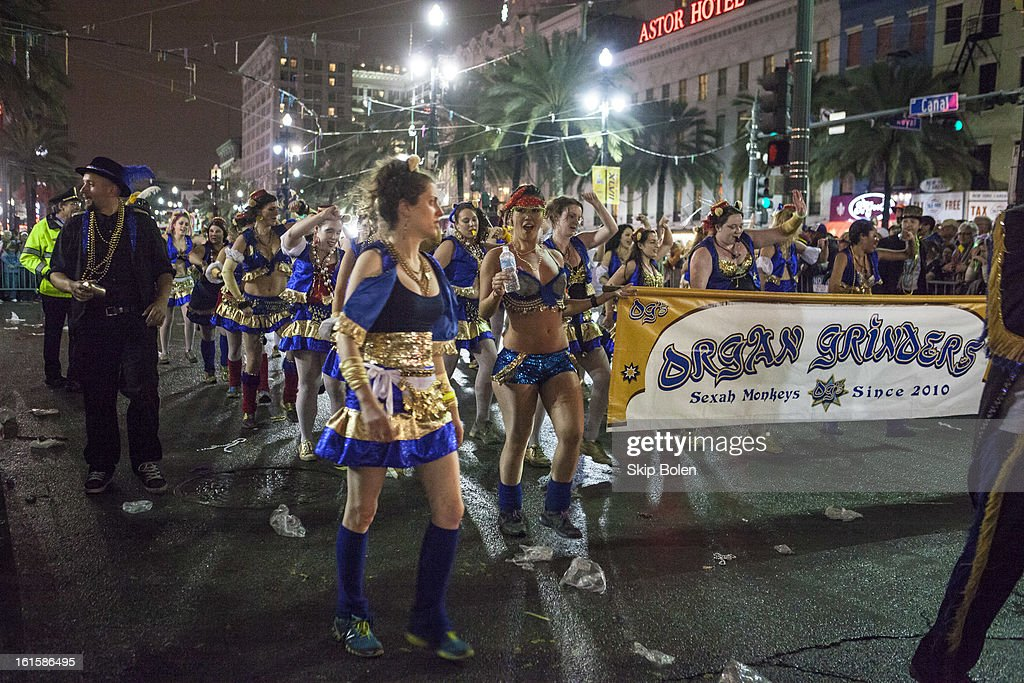 The Organ Grinders march in the 2013 Krewe of Orpheus Mardi Gras Parade on February 11, 2013 in New Orleans, Louisiana.
