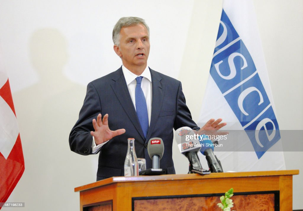 The Organization for Security and Co-operation in Europe (OSCE) chairman and Switzerland President <a gi-track='captionPersonalityLinkClicked' href=/galleries/search?phrase=Didier+Burkhalter&family=editorial&specificpeople=6269147 ng-click='$event.stopPropagation()'>Didier Burkhalter</a> speaks during a press conference as the two-day OSCE counter terrorism conference begins on April 28, 2014 in Interlaken, Switzerland. Most of the OSCE observers have been detained by pro-Russian separatists in eastern Ukraine.