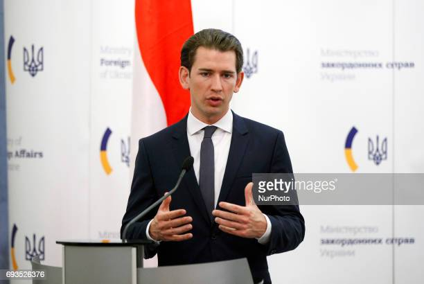 The Organization for Security and Cooperation in Europe chairman Austrian Foreign Minister Sebastian Kurz speaks at a pressconference during his...