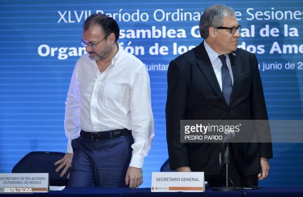 The Organization of American States Secretary General Luis Almagro and Mexico's Foreign Minister Luis Videgaray arrive to give a press conference in...