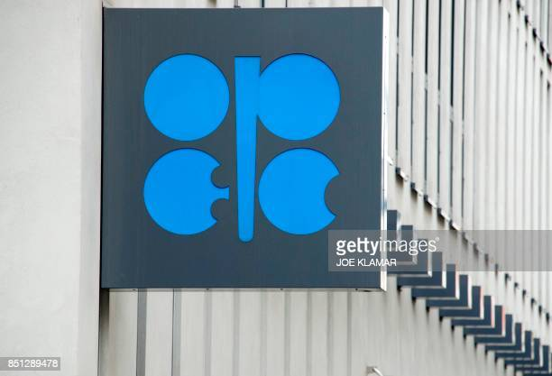 The Organization of the Petroleum Exporting Countries logo is pictured at OPEC's headquarters in Vienna on September 22 2017 / AFP PHOTO / JOE KLAMAR
