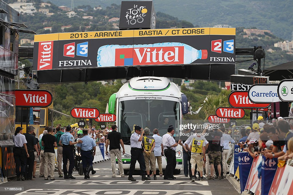 The Orica-Greenedge team bus collides with the finishing banner prior to the race arriving at the end of stage one of the 2013 Tour de France, a 213KM road stage from Porto-Vecchio to Bastia, on June 29, 2013 in Bastia, France.