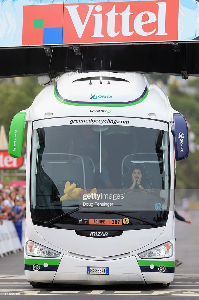 The Orica-Greenedge team bus collides with the finishing banner prior to the race arriving at the end of stage one of the 2013 Tour de France, a 213KM road stage from Porto-Vecchio to Bastia, on June 29, 2013 in Bastia, France. The 100th edition of Le Tour de France begins in Porto Vecchio on the island of Corsica and ends July 21 in Paris.