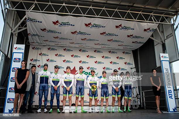 The OricaGreenedge team on the podium for taking second place on stage 1 of the Tour of Alberta on September 2 2015 in Grande Prairie Alberta Canada