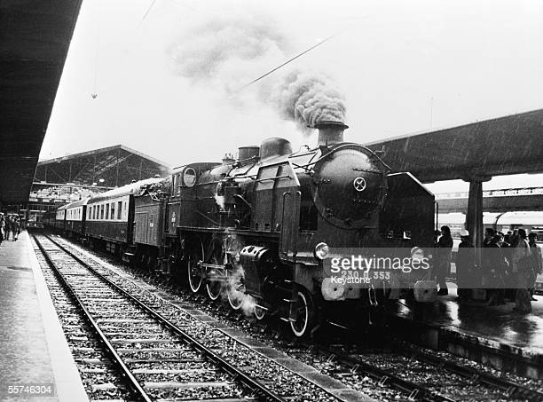 The Orient Express returns to the Gare d'Austerlitz Paris to celebrate a recent railway exhibition in Paris 13th December 1978