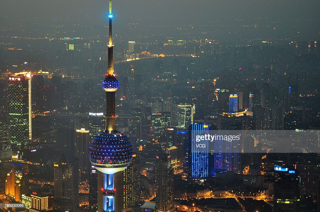 The Oriental Pearl TV Tower is illuminated in blue on World Autism Awareness Day on April 2, 2013 in Shanghai, China. World Autism Awareness Day falls on April 2 every year.